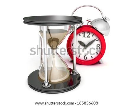 Hourglass and alarm ckock on white background. business time concept 3d render illustration - stock photo