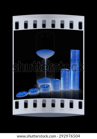 hourglass and coins on a black background. The film strip - stock photo
