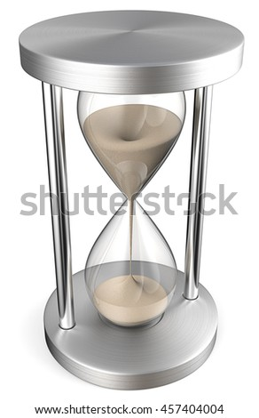Hourglass. 3D render of a Classic Hourglass of brushed metal.