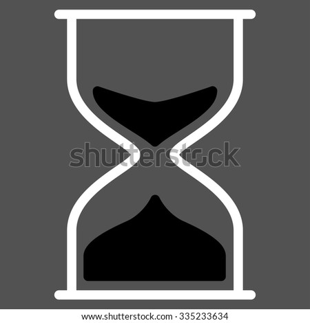Hourglass glyph icon. Style is bicolor flat symbol, black and white colors, rounded angles, gray background.