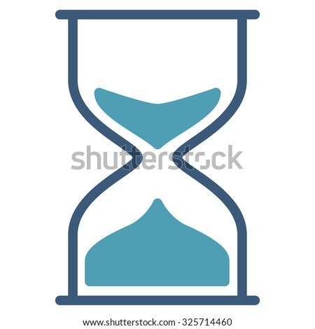 Hourglass glyph icon. Style is bicolor flat symbol, cyan and blue colors, rounded angles, white background.