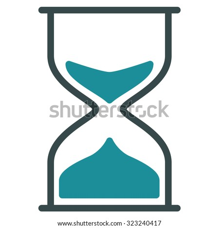 Hourglass glyph icon. Style is bicolor flat symbol, soft blue colors, rounded angles, white background.