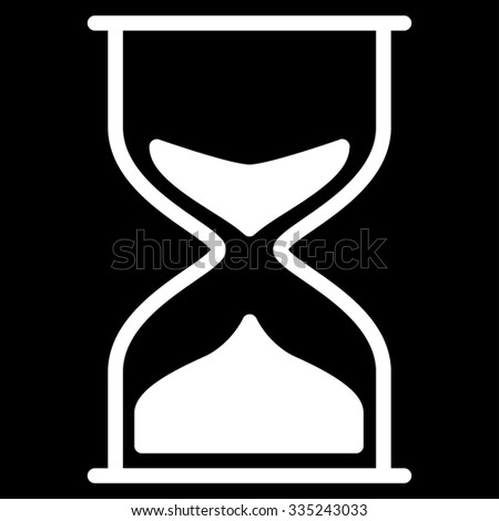Hourglass glyph icon. Style is flat symbol, white color, rounded angles, black background.