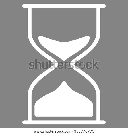 Hourglass glyph icon. Style is flat symbol, white color, rounded angles, gray background.