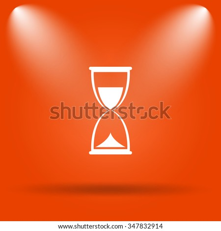 Hourglass icon. Internet button on orange background.  - stock photo