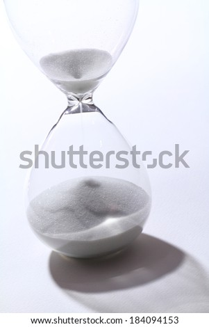 Hourglass in white background and shadow drop
