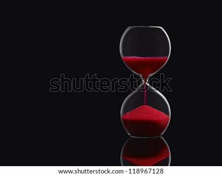Hourglass, Isolated on Black - stock photo