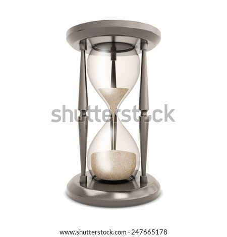 Hourglass isolated on white background. Retro hourglass counting down the time. - stock photo
