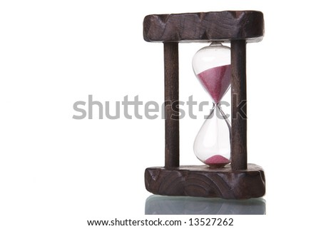 hourglass isolated on white with reflection