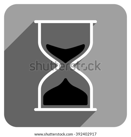 Hourglass long shadow glyph icon. Style is a flat hourglass iconic symbol on a gray square background.