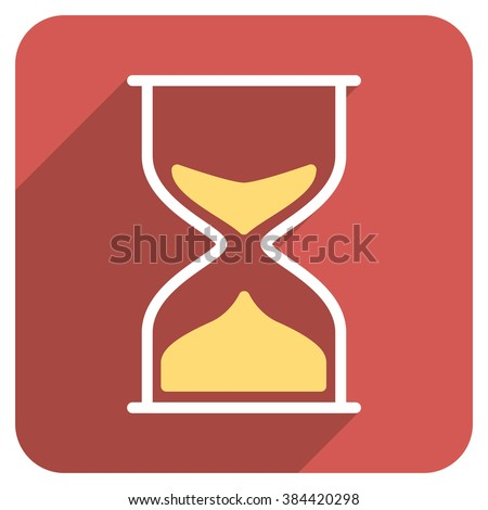 Hourglass long shadow glyph icon. Style is a flat symbol on a red rounded square button.
