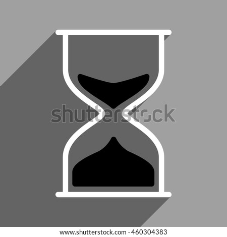 Hourglass long shadow icon. Style is a flat hourglass black and white iconic symbol on a gray square background.