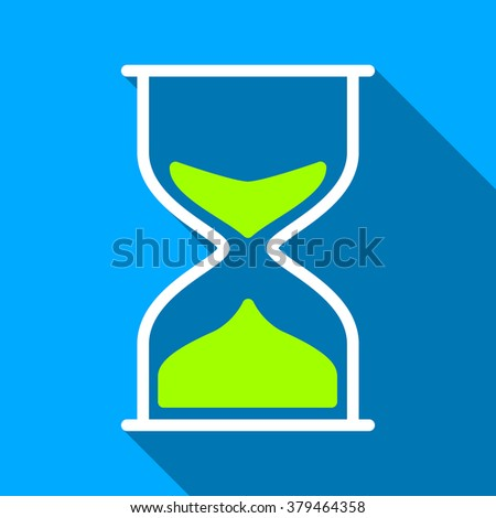 Hourglass long shadow raster icon. Style is a flat light symbol with rounded angles on a blue square background.