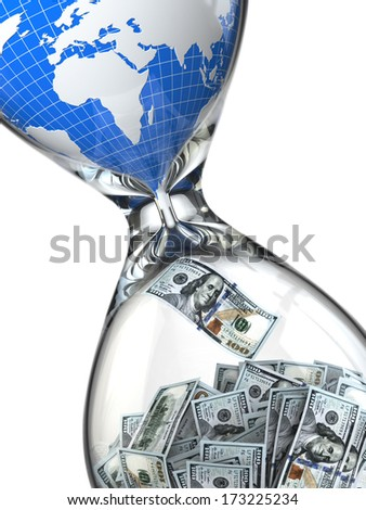 Hourglass, money and earth. Consumption of natural resources. 3d - stock photo