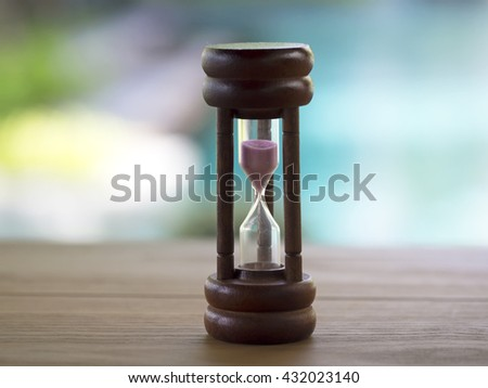 Hourglass on blurred natural background