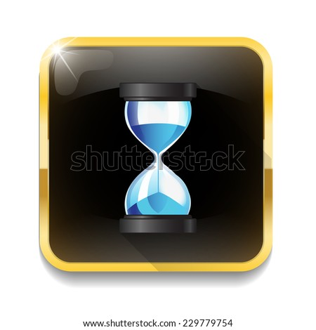 Hourglass sand clock icon With long shadow over app button - stock photo