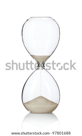 Hourglass, sand glass isolated on white background - stock photo