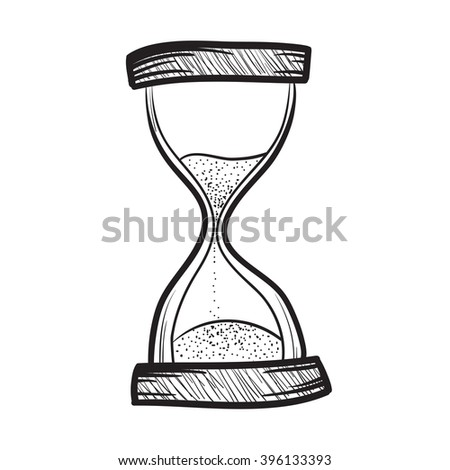 Hourglass, sand timer, sand watch, sand clock hand drawn illustration icon