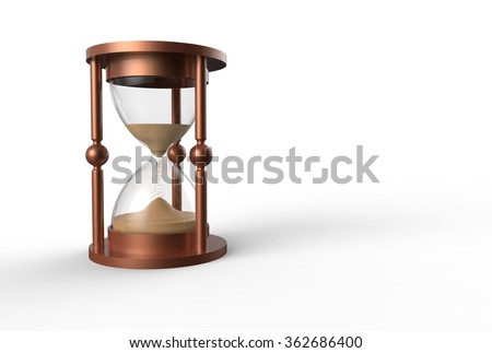 hourglass, sandglass, sand timer, sand clock isolated on the white  - stock photo