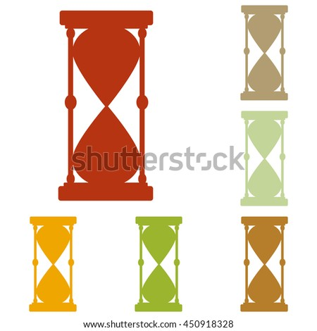 Hourglass sign illustration. Colorful autumn set of icons.