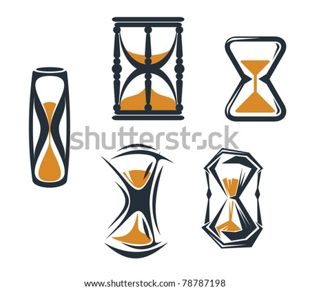 Hourglass symbols and icons for time concept and design, such a logo. Vector version also available in gallery - stock photo