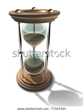 Hourglass time clock with sands of time running out representing a deadline or aging isolated.
