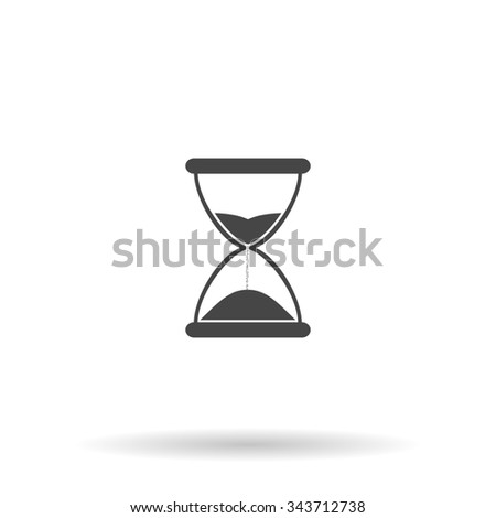 Hourglass time. Flat icon on grey background with shadow