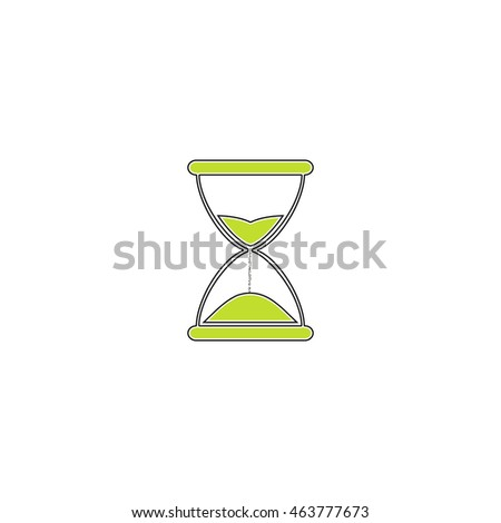 Hourglass time. Flat icon on white background. Simple illustration