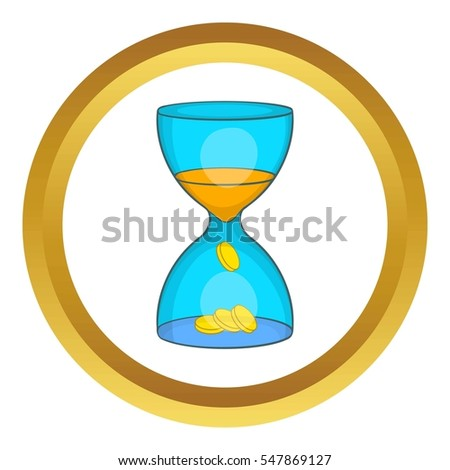 Hourglass, time is money  icon in golden circle, cartoon style isolated on white background