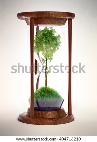 Hourglass with a tree inside - ecology concept 3D illustration - stock photo