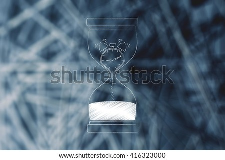 hourglass with alarm clock melting to sand, concept of time management and living life to the fullest