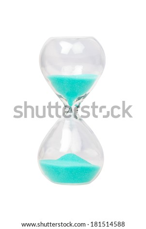 Hourglass with blue sand isolated on white