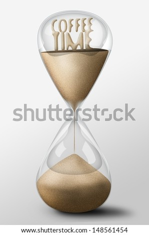 Hourglass with Coffee Time made of sand inside the clock. Concept of rest