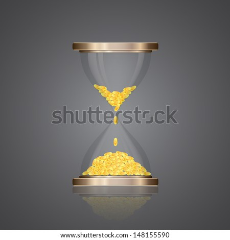 Hourglass with coins. Raster version - stock photo