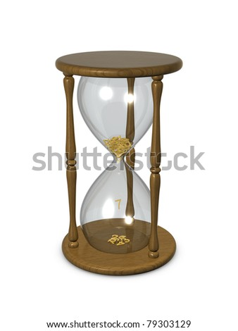 Hourglass with digits inside. Isolated on the white background