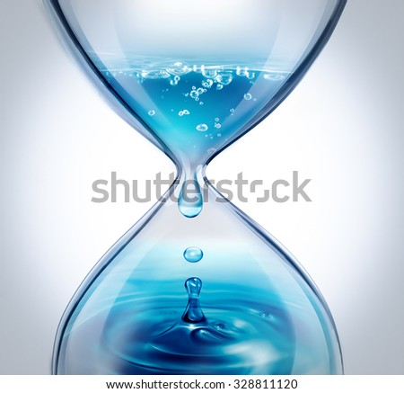 hourglass with dripping water close-up on a light background - stock photo