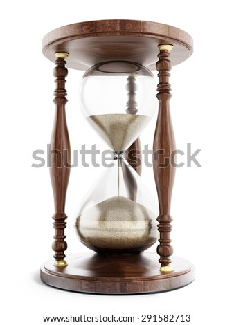 Hourglass with flowing sand isolated on white background