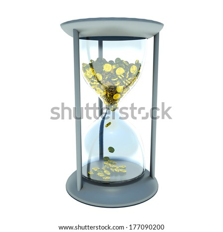 hourglass with golden coins - stock photo