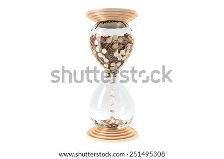 hourglass with golden dollar coins instead  of sand on a white background