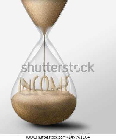 Hourglass with Income, concept of expectations business - stock photo