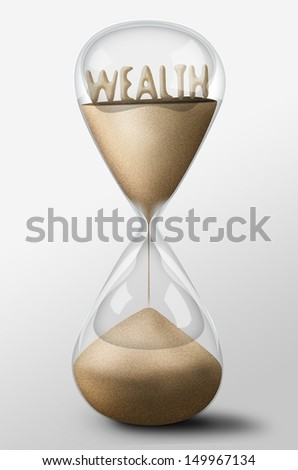 Hourglass with Wealth word made of sand inside the clock. Concept of spending money - stock photo