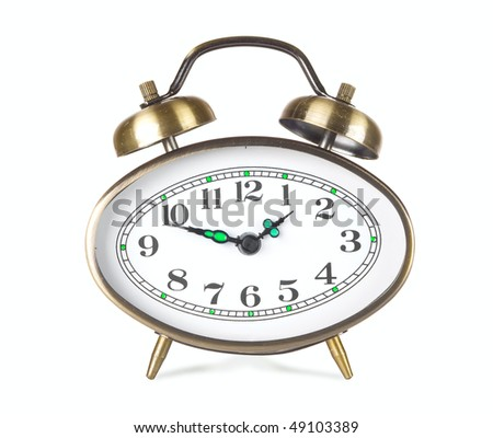 Hours an alarm clock on a white background
