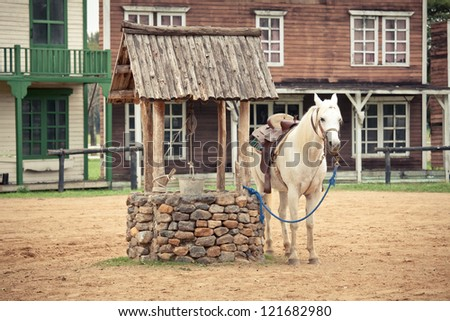 hourse at the Historic wild west town style - stock photo