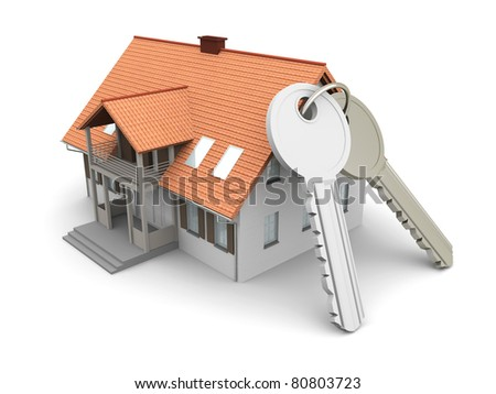 House and a pair of Keys. 3D rendered Illustration. Isolated on white. - stock photo