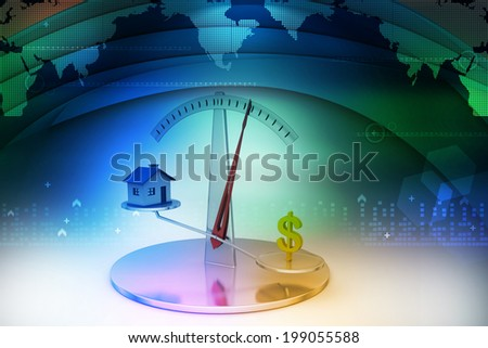 House and dollar sign on scale - stock photo