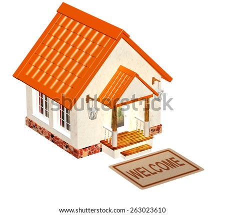 House and doormat. Objects isolated on white background - stock photo