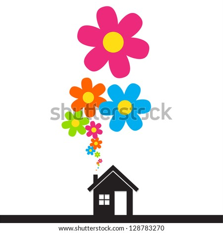 House and flowers instead of smoke rising from the chimney Abstract illustration. Raster version. - stock photo