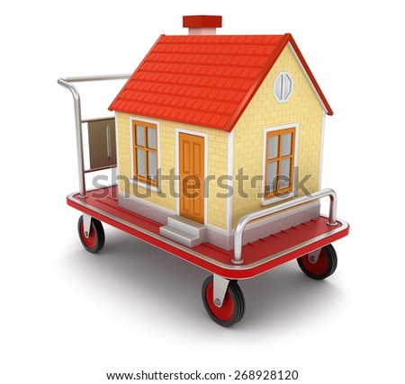 House and Handtruck (clipping path included) - stock photo