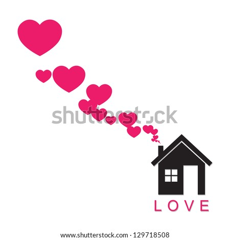 House and hearts instead of smoke rising from the chimney Abstract illustration. Raster version. - stock photo