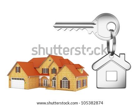 House and house key on white background - stock photo